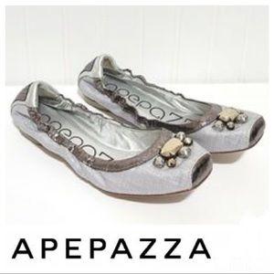 APEPAZZA Alvar Jeweled Silver Ballet Flats Sz 8 M